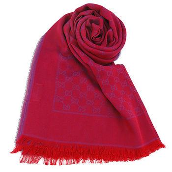 GUCCI 透氣精緻棉質單色流蘇圍巾(紅x紫)