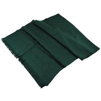 GUCCI 100%羊毛單色流蘇圍巾(墨綠)