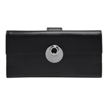 GUCCI 經典品牌圓形金屬LOGO素面牛皮釦式長夾(黑色)