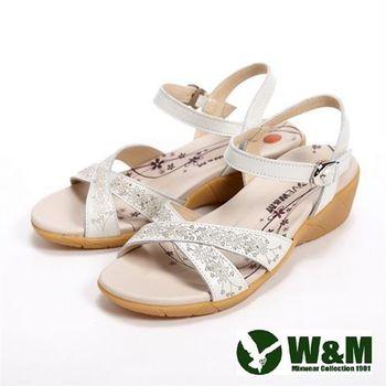 【W&M】雕花交錯設計扣環式女鞋中跟涼鞋-白(另有粉)