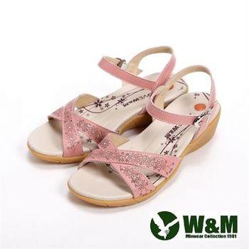 【W&M】雕花交錯設計扣環式女鞋中跟涼鞋-粉(另有白)