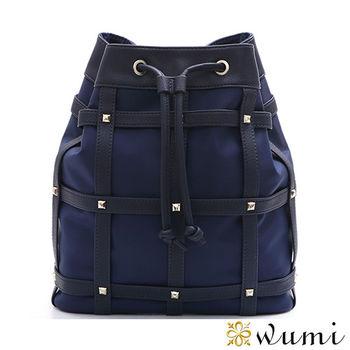 WuMi日韓  愛絲特尼龍鉚釘束口水桶包  共二色
