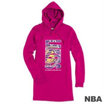 NBA-洛杉磯湖人隊長版印花連帽T-深粉紅(女)