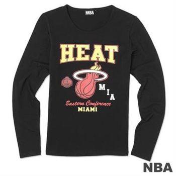 NBA-邁阿密熱火隊印花百搭薄長袖T恤-黑(女)