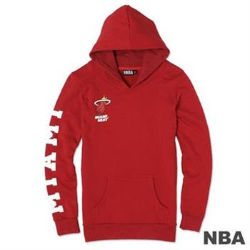 NBA-邁阿密熱火隊袖印花長版長袖連帽T-紅(女)