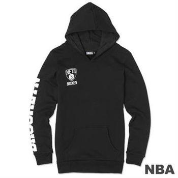 NBA-布魯克林籃網隊袖印花長版長袖連帽T-黑(女)
