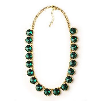ArFFi 艾菲 復古沉綠晶鑽單顆水鑽串接短項鍊