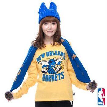 NBA-紐奧良黃蜂隊棉質圓領T恤-淺黃(女)