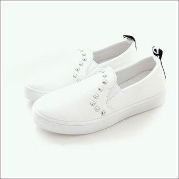 《DOOK》經典百搭素面鉚釘懶人鞋-白色