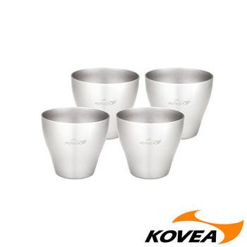【韓國KOVEA露營戶外用品】SC304不鏽鋼燒酒杯組-4入