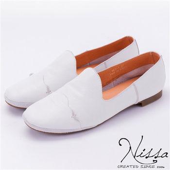 NISSA 全真皮 牛皮懶人休閒鞋 白色