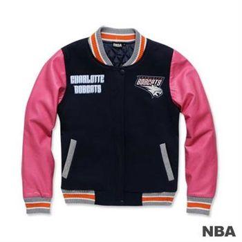 NBA-夏洛特山貓隊繡花鋪棉撞色棒球外套-深藍色(女)