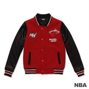 NBA-邁阿密熱火隊繡花鋪棉撞色棒球外套-紅色(女)