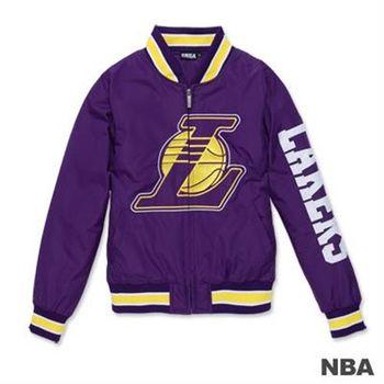 NBA-洛杉磯湖人隊經典LOGO繡花合身棒球外套-紫色(女)
