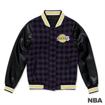 NBA-洛杉磯湖人隊棋盤格紋拼接毛料皮袖棒球外套-紫色(女)