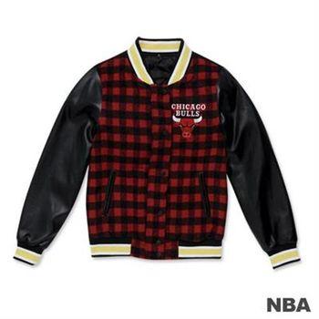 NBA-芝加哥公牛隊棋盤格紋拼接毛料皮袖棒球外套-紅色(女)