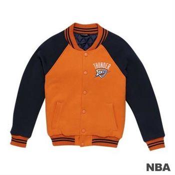 NBA-奧克拉荷馬雷霆隊繡花LOGO鋪綿棒球外套-桔色(女)