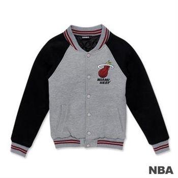 NBA-邁阿密熱火隊繡花LOGO鋪綿棒球外套-麻灰色(女)