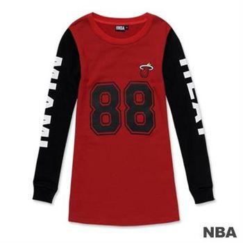 NBA-邁阿密熱火隊印花圓領數字拼接袖長版T恤-深紅色(女)