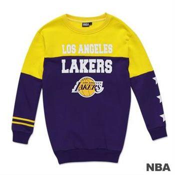 NBA-洛杉磯湖人隊撞色印花圓領長版T恤-紫色(女)