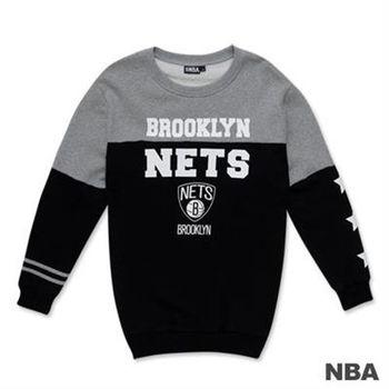 NBA-布魯克林籃網隊撞色印花圓領長版T恤-黑色(女)