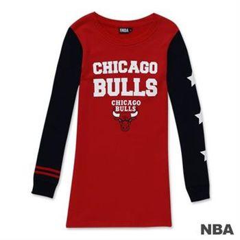 NBA-芝加哥公牛隊印花圓領星星拼接袖長版T恤-紅色(女)