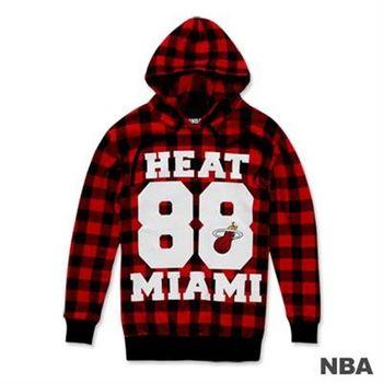 NBA-邁阿密熱火隊棋盤格紋印花連帽長版T恤-紅色(女)