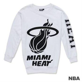 NBA-邁阿密熱火隊單色印花圓領寬版T恤-白色(女)
