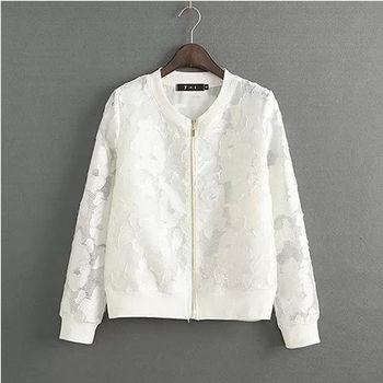 【Fabulous!!】韓版夏季純色立領蕾絲防曬小外套(黑白兩色任選一件)