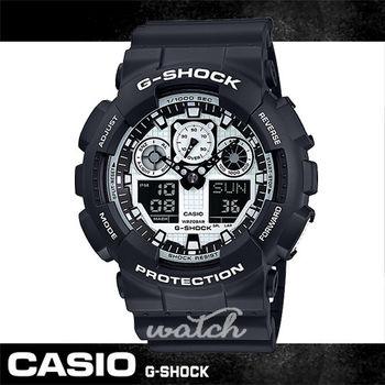 【CASIO 卡西歐 G-SHOCK 系列】全黑狂潮_剽悍上市_個性雙顯男錶(GA-100BW)