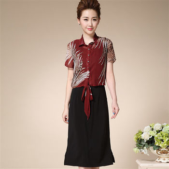 【糖潮】圓領背心長裙短袖印花繫帶外披兩件套(共二色)