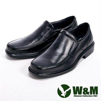 【W&M】真皮直套式氣墊基本款男仕皮鞋-黑
