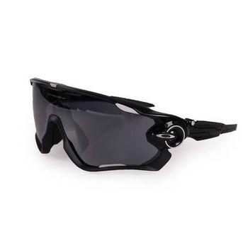 【OAKLEY】JAWBREAKER太陽眼鏡-硬盒附鼻墊  防撞 防霧 黑銀