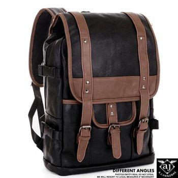 【AJ.亞介】韓版  雙磁釦翻蓋 雙色拼接皮革 後背包  (UE7615)