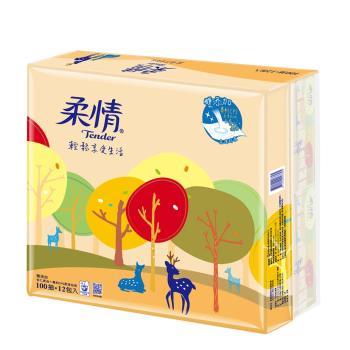 【柔情】抽取100抽*12包*6袋共72包/箱-杏仁果油添加
