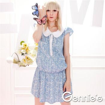 【Gennie's奇妮】學院風圓領灰藍荷葉邊春夏孕婦上衣(G1316)
