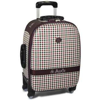 【Audi 奧迪】18吋方格紋Audi登機箱旅行箱M-61518-紅