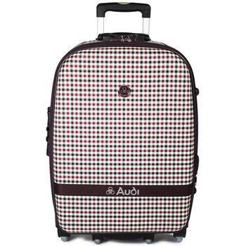 【Audi 奧迪】25吋方格紋Audi行李箱旅行箱M-61525-紅