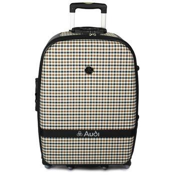 【Audi 奧迪】25吋方格紋Audi行李箱旅行箱M-61525-黑