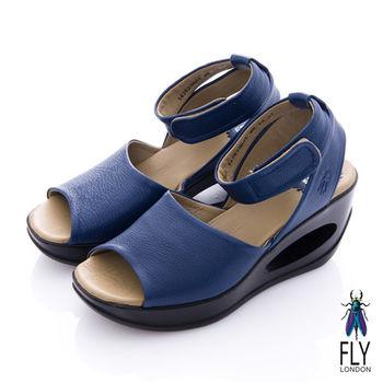 Fly London(女) 鄰家女孩 魚口繫踝洞力高跟涼鞋 - 藍