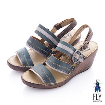 Fly London(女) Summer 平行扣環楔型涼鞋 - 海藍