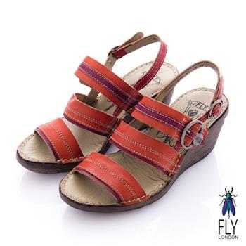 Fly London(女) Summer 平行扣環楔型涼鞋 - 烈紅