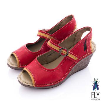 Fly London(女) LADIES 復古魚口娃娃扣環楔型涼鞋 - 辣紅
