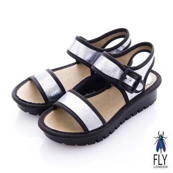 Fly London(女) 法式橫線 厚底扣環涼鞋 - 裂銀