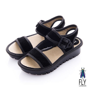 Fly London(女) 法式橫線 厚底扣環涼鞋 - 絨黑