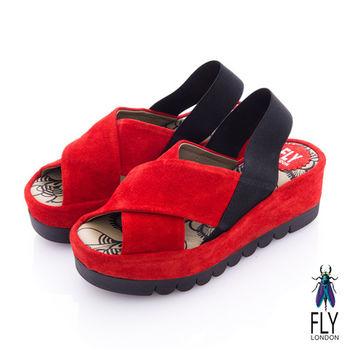Fly London(女) FAYA 時尚麂皮交叉厚底涼鞋-紅