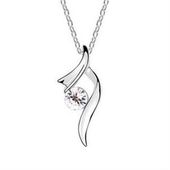 【米蘭精品】925純銀項鍊鑲鑽吊墜韓版簡約唯美氣質