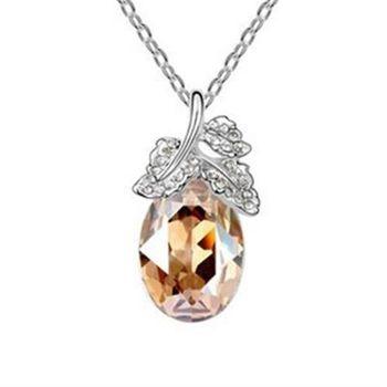 【米蘭精品】925純銀項鍊水晶吊墜奢華璀璨閃耀動人