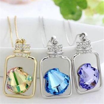 【米蘭精品】925純銀項鍊水晶吊墜唯美瓶中貝殼造型