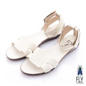 Fly London(女) 五月 牛皮踝扣平底涼鞋 - 鵝石白